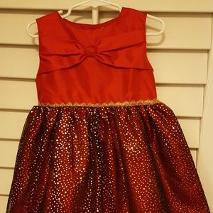 NWT 🎀 Red Bow Gold Sparkle dot Dress 🎀